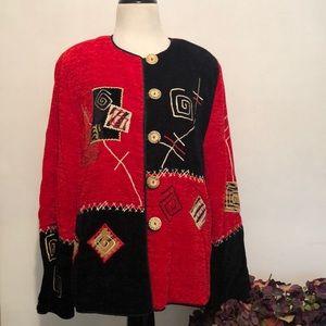 Coldwater Creek Embellished Jacket Red, Black EUC